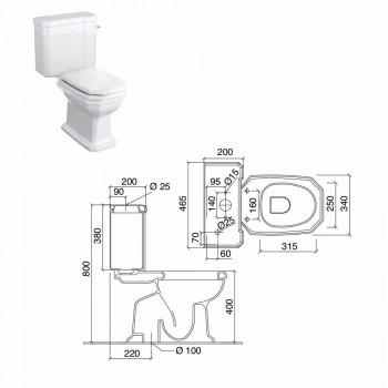 Bílé keramické toaletní sklenice s kazetou, vyrobené v Itálii - Nausica