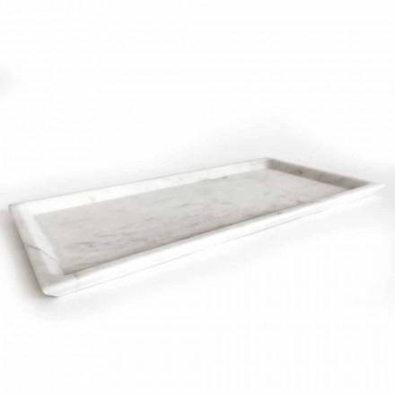 Obdélníkový podnos z leštěného bílého mramoru Carrara vyrobený v Itálii - Alga