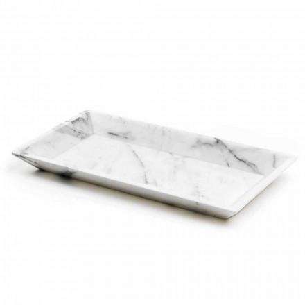 Obdélníkový podnos v bílém mramoru Carrara Vyrobeno v Itálii - Vassili
