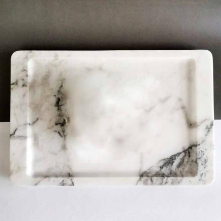 Obdélníkový podnos z bílého mramoru s moderními žilkami vyrobený v Itálii - Stora