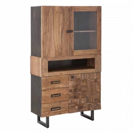 Moderní vitrína se zásuvkami a dveřmi, železem, sklem a akátovým dřevem - Dianna